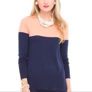 Lilly Pulitzer Debra coral navy colorblock sweater